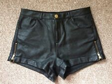 TOPSHOP Black Faux Leather High Waisted Shorts With Zips Size 8
