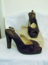MICHAEL KORS~ BROWN SUEDE LEATHER PLATFORM SLINGBACK SANDALS ~ 8-1/2 M