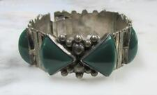 Vintage Mexico Sterling Silver Chrysoprase Accented Bracelet ~ 55.8gr ~ 2-G2057