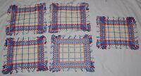 Vintage Woven Rag Rug Cotton Place Mats Fringe set of 5 Red White Blue Napkins