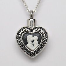 MOTHER & CHILD CAMEO HEART CREMATION URN NECKLACE HEART URN CREMATION JEWELRY