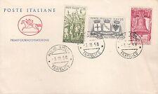 ITALIA BUSTA CAVALLINO F.D.C. ANNIVERSARIO VITTORIA 1958 ANNULLO REGGIO E. FDC