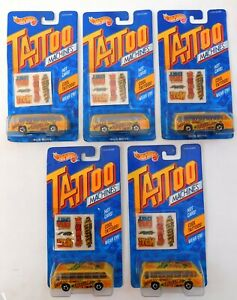5 HOT WHEELS TATTOO MACHINES NEW IN PACKAGE (BUS BOYS)
