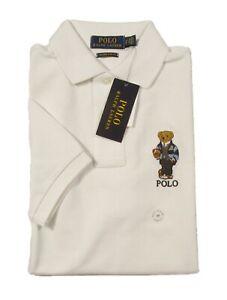 Polo Ralph Lauren Men's Deckwash White Polo Bear Custom Slim Fit S/S Polo Shirt