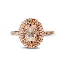 Natural Oval Cut Pink Morganite Diamond Engagement Halo Ring Solid 14K Rose Gold