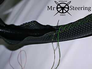 FITS INNOCENTI MINI 74+ PERFORATED LEATHER STEERING WHEEL COVER GREEN DOUBLE STT