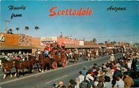 1950s Rodeo Parade Street Scene Scottsdale Arizona Petley Postcard 11580