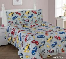 NEW PRETTY COLLECTION RACE CARS KIDS BOYS SHEET SET  3 PCS TWIN SIZE