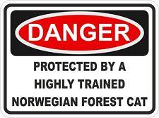 Breed NORWEGIAN FOREST CAT Danger Sticker Pet for Bumper Locker Car Door