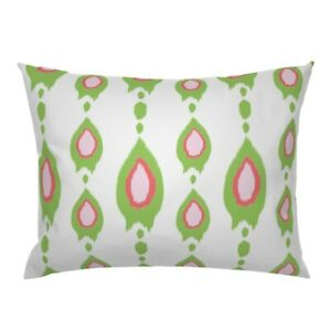 Ikat Stripe Traditional Pink Red Green Holiday Pillow Sham by Roostery