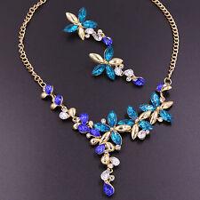 New Diamond Crystal Rhinestone Blue Flower Pendant Necklace Earrings Jewelry Set
