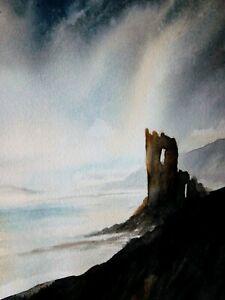 scottish lament,original landscape watercolour painting by Trevor partridge