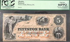 Pittston, PA - Pittston Bank $5 Proof BEAUTIFUL ORANGE
