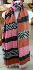 Foulard châle écharpe étole camaïeu rose orange à franges chaude et confortable