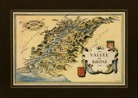 Rhône wine region France small cartoon map c. 1950 decorative colorful old map