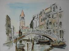Bridge Over a Venice Canal Abstract Study Mixed Media/Print Base Appears 1970s