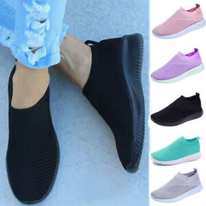 Womens Breathable Trainers Sneakers Mesh Comfy Slip On Casual Sport Gym Shoes
