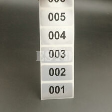 1000 Silver 40 x 20mm Consecutive, Sequential Number Labels Stickers 001 to 1000