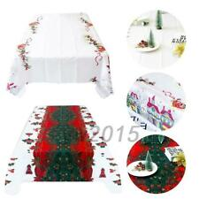 Santa Christmas Whit Tablecloth Polyester Table Cloth Xmas Party Dining 18*15 CM
