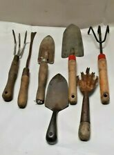 7 Vintage hand garden tools wood handle and all steel rake shovel spade