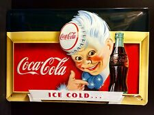 COCA COLA Ice Cold Boy Vintage Metal Wall Sign 3D Embossed ~COKE 20x30 Cm