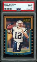 TOM BRADY 2000 Bowman #236 RC Rookie (Patriots) (Bucs) PSA 9 MINT