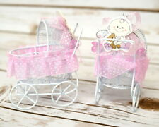 12 PC Fillable Baby Shower Pink Wire Carriage Favor Box Table Decoration Girl