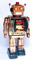 MACHINE GUN CLASSIC RETRO TIN TOY D CELL ROBOT ELECTRON ROTATE-O-MATIC
