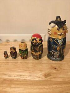 Matryoshka Russian Dolls - Pirate Themed Signed By Maker