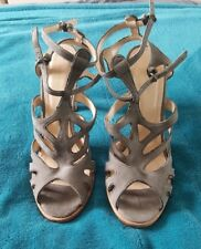 COUNTRY ROAD Grey Suede Strappy Heels Stilletos All Leather Shoes Timber Size 41
