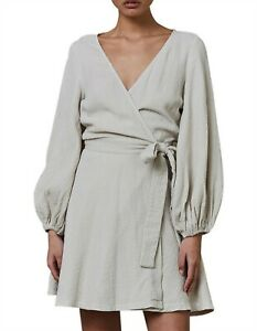 Bec & And Bridge Marlowe Beige Wrap Dress Crinkled Size 10 8 Billow Long Sleeves