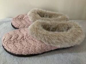 Womens Dearfoams Pink Sweater Knit Clog Memory Foam No Sweat Slippers Large 9-10
