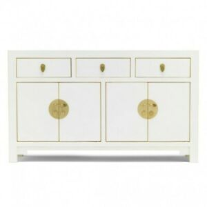 Made to Order Golden Dragon Oriental Painted Solid Wood White Large Sideboard