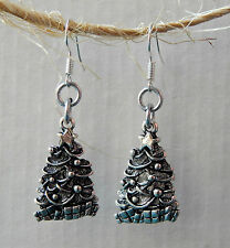 Classic Pewter Christmas Tree Earrings by Slave Violet Jewelry