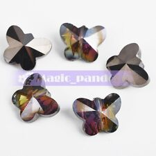 10pcs 14x12mm Faceted  Crystal Glass Butterfly Charm Spacer Loose Bead Findings