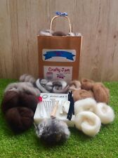 Natural 3D Animal Needle Felting Starter Kit Wool, Needles, Mat, Coloured Eyes