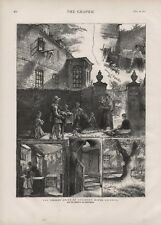 OLD ANTIQUE 1874 PRINT LONDON PRESENT STATE OF HOGARTH 'S HOUSE CHISWICK b140