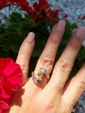 Pear Cut Golden Morganite Solitaire  Flora Bypass Ring, Sterling silver, Size 6