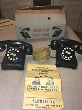 Vintage Playmore Inc NY Toy Intercom Telephone System USA Around 1950's GUC