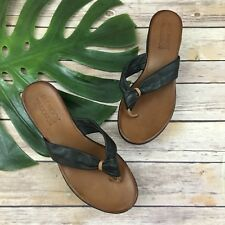 Miz Mooz The Nuovo Wedge Sandals Size 40 9 Black Leather Flip Flop Chunky
