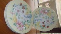"""Salad Plates Grandma's Kitchen by PFALTZGRAFF 4 8.25"""" round salad plate Floral"""