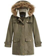 Rothschild Girls' Stadium Jacket with Faux Fur Hood Trim,Olive, Size S7-8.