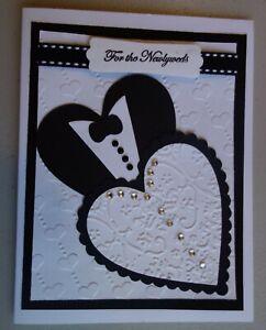 Handmade Wedding Card Tuxedo Using Stampin Up, Cuttlebug, Rhinestones, Ribbon