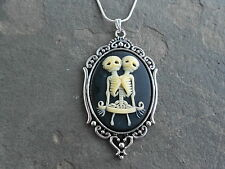 SKELETON SIAMESE TWINS CAMEO NECKLACE- BONE/BLACK-VICTORIAN, GOTH, HALLOWEEN!!!!