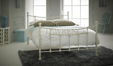 Chester Double 4ft 6inch Metal Frame Bed In Textured Cream ** FRAME ONLY **