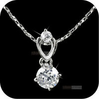 18k white gold gp made with SWAROVSKI crystal round pendant necklace