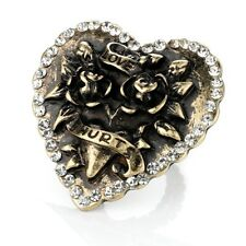 Burn Gold Tone 'Love Hurts' Heart and Crystal Stretch Ring - Fashion Jewellery