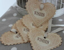 WISHES-Heart Shaped Wedding Wish Tree Tags-Vintage Style-Handmade for You-Unique