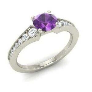 1.30Ct Purple Round Amethyst Diamond Engagement Ring Solid 925 Sterling Silver