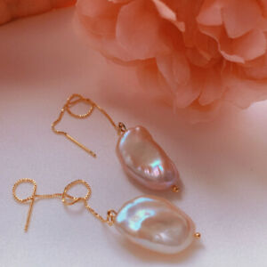 Elegant Natural Baroque pearl Earrings 18KGB Holiday gifts Classic Party